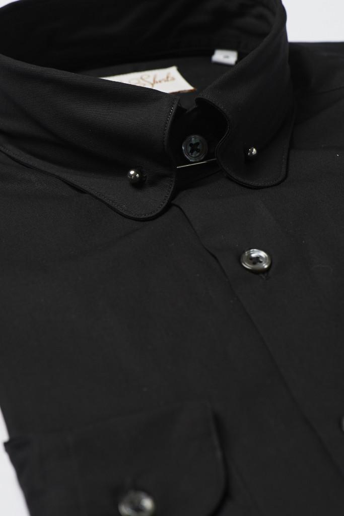 Black Pin Collar Shirt