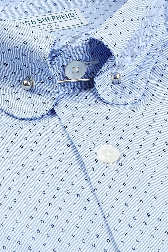 Paisley Micro Print Pin Collar Shirt