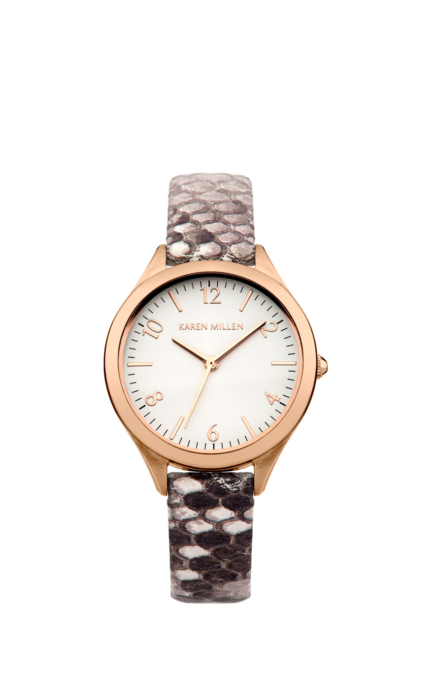 Karen Millen Python Effect Leather Watch