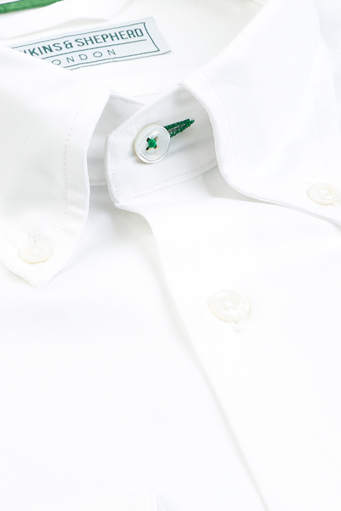 White Button-Down Shirt by Hawkins & Shepherd
