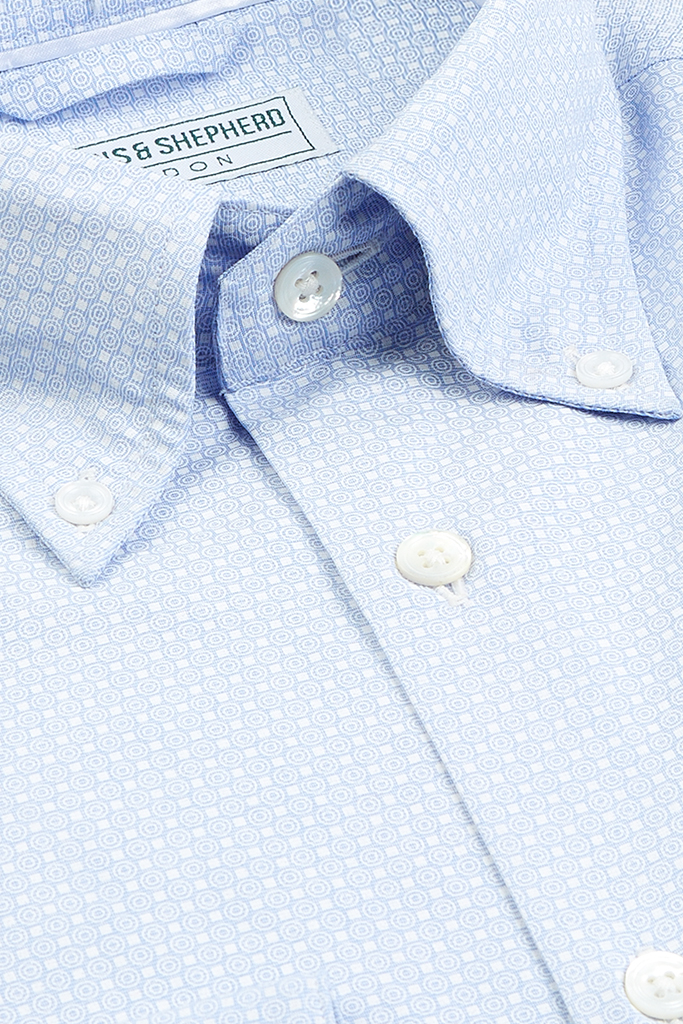 Micro GeoMetric Print Button-Down Shirt