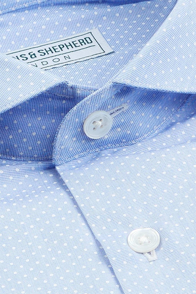 Micro Polka Dot Blue Shirt