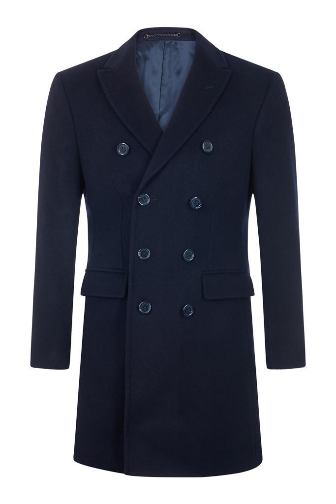 Navy Cashmere Blend Overcoat
