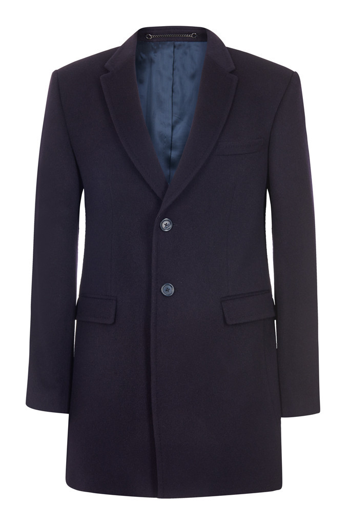 100% Cashmere Navy Overcoat