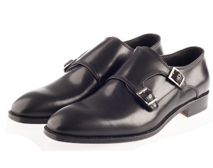 Black Double Monk Strap Shoes