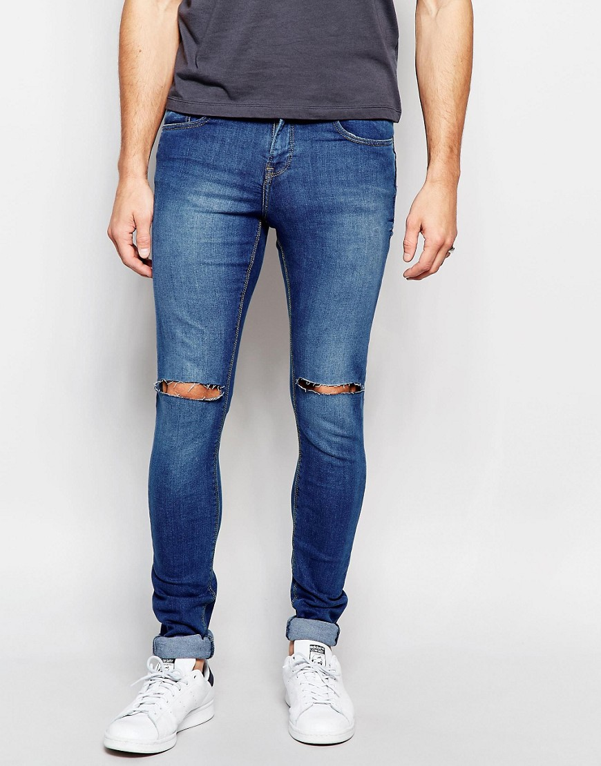 Mens Blue Ripped Jeans