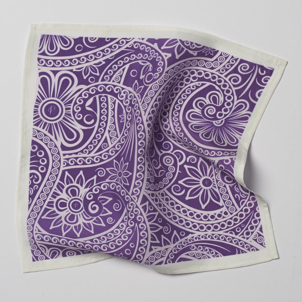 Purple Paisley Pocket Square