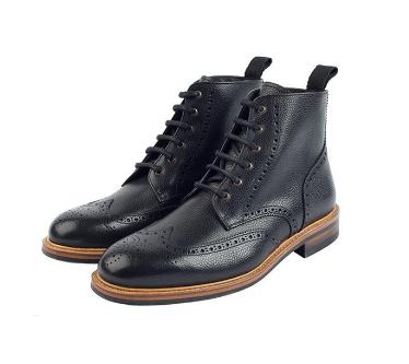 Hawkins & Shepherd Black Brogue Boots