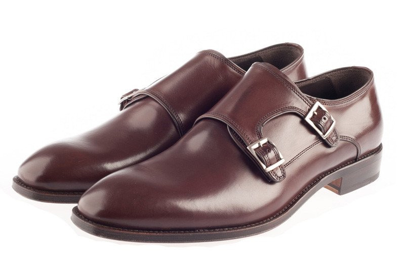 Brown double monk strap shoes