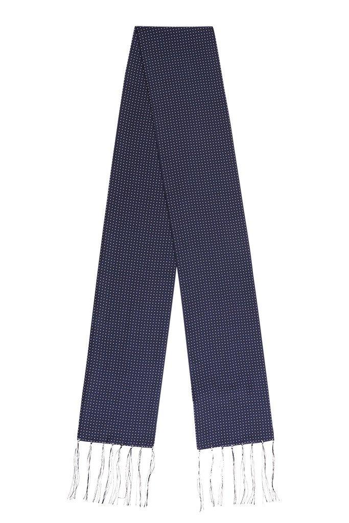 Navy Polka Silk Scarf
