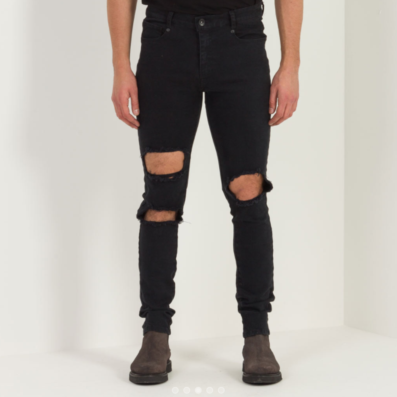 DESTROYED SLIM-FIT JEAN - BLACK