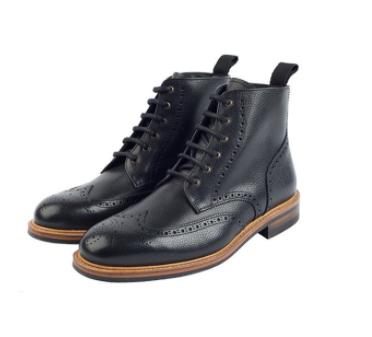 Bourton Black Brogue Boots
