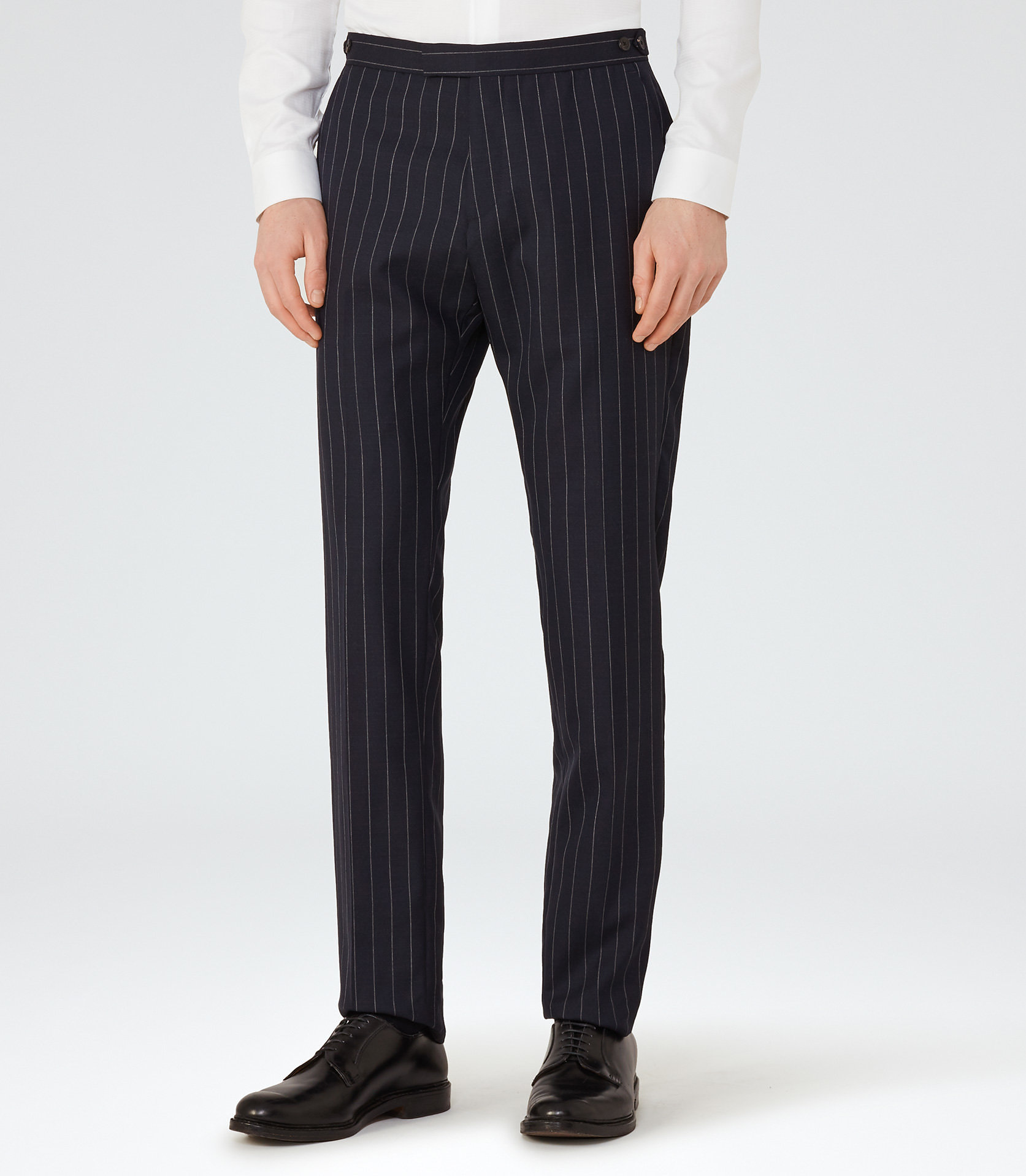 Reiss Navy Pinstripe Trousers