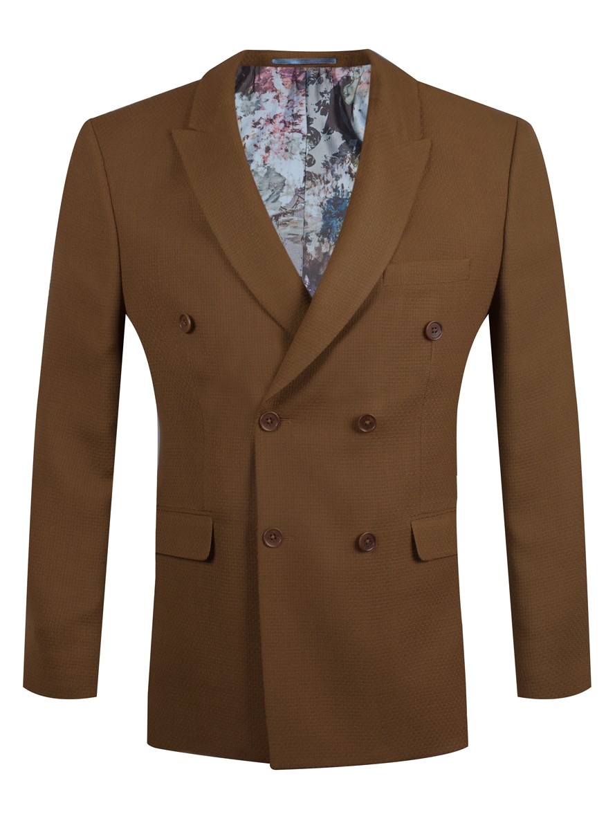 Camel Double Breasted Textured Blazer