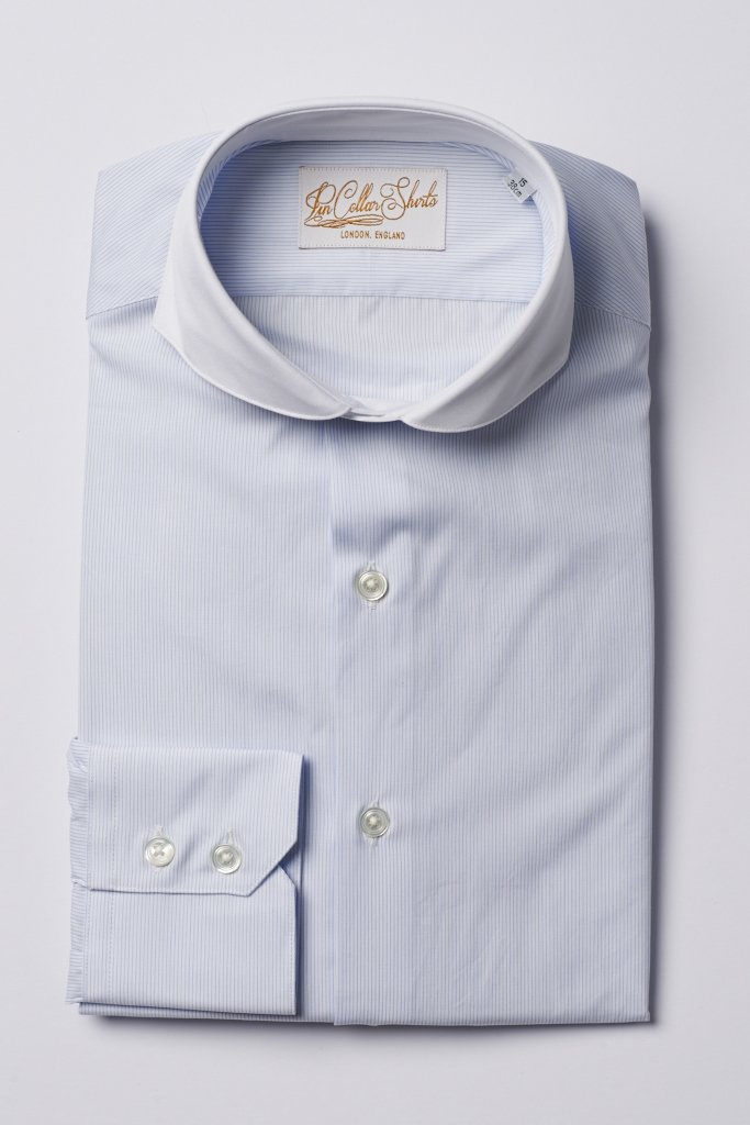Hawkins & Shepherd Formal Extreme Cutaway Shirt Blue Stripe