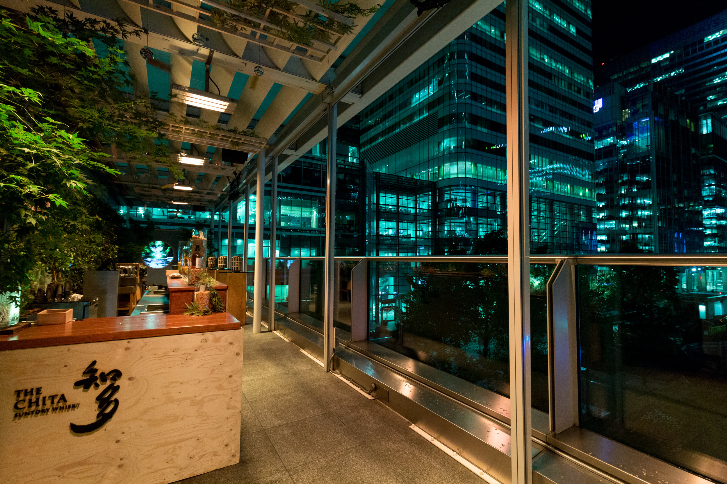 Terrace at night - Suntory Chita Terrace at ROKA Canary Wharf.jpg