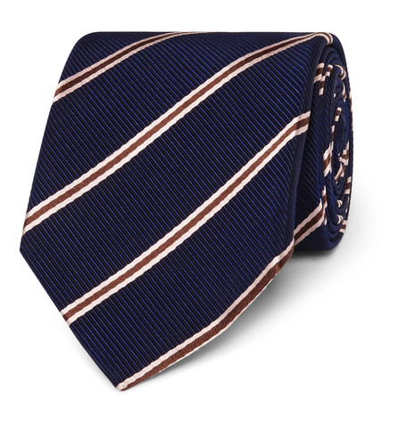 Kingsman x Drake's 8.5cm Striped Silk And Cotton-Blend Faille Tie