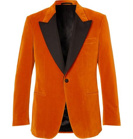 Kingsman x Eggsy's Orange Faille-Trimmed Cotton-Velvet Tuxedo Jacket