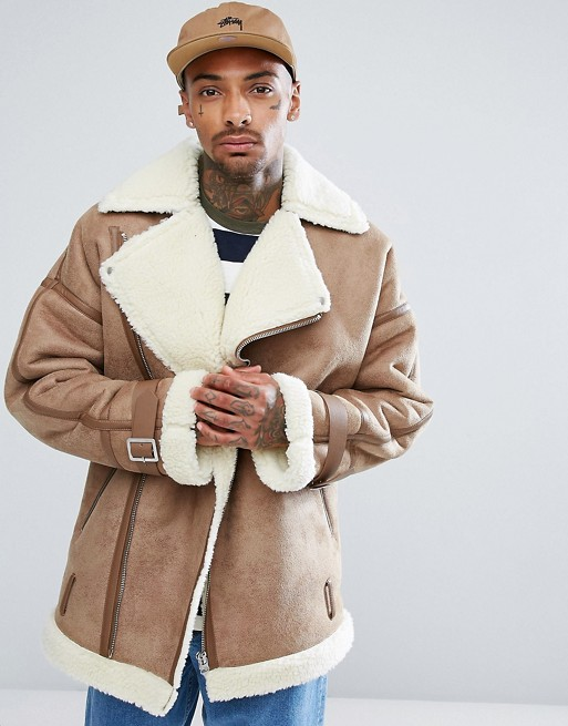 ASOS Biker Shearling Coat For Men