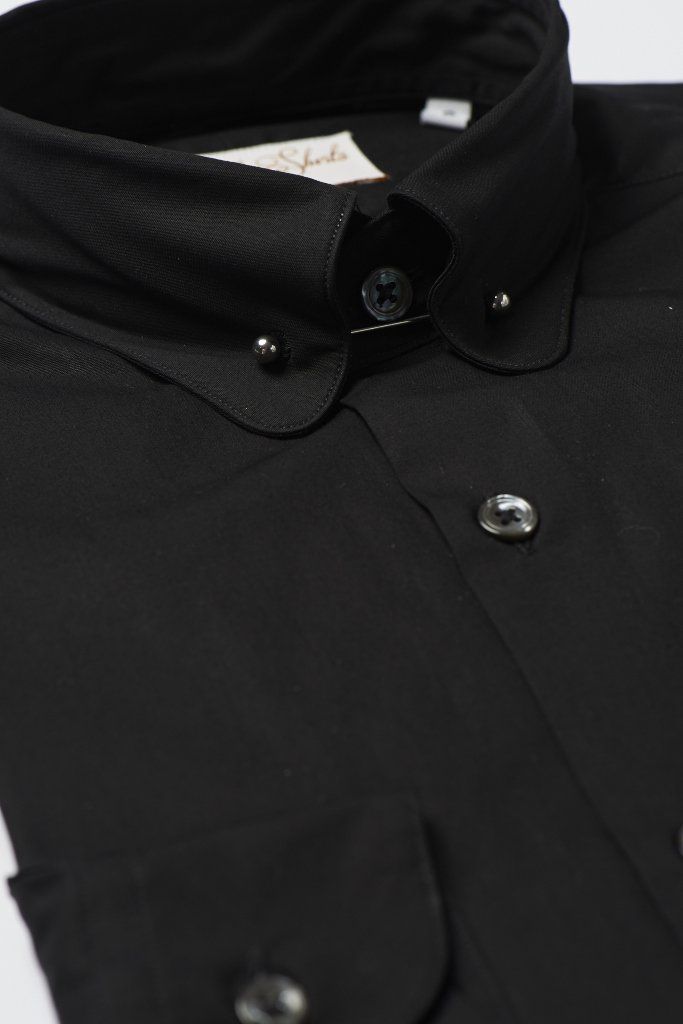 Black Pin Collar Shirt by Hawkins & Shepherd