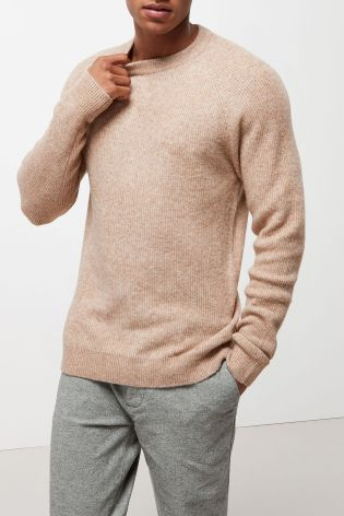 Sand Cosy Ribbed Crew Jumper