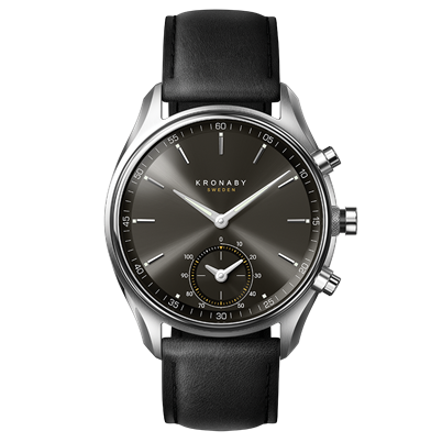 Kronaby Watch - Sekel Gun Stainless Black - Front.png