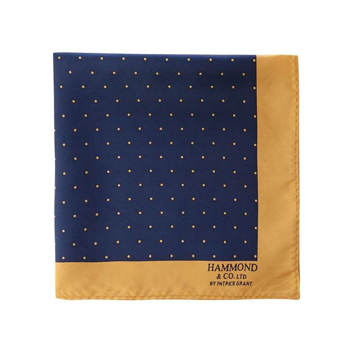 HAMMOND & CO. BY PATRICK GRANT NAVY POLKA DOT PRINT PURE SILK POCKET SQUARE