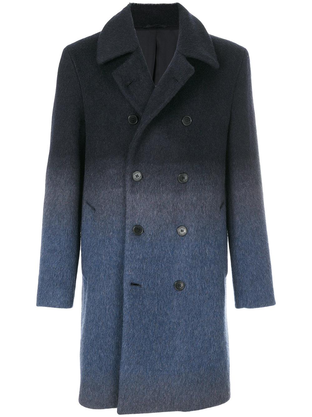 Versace Ombre Navy Overcoat