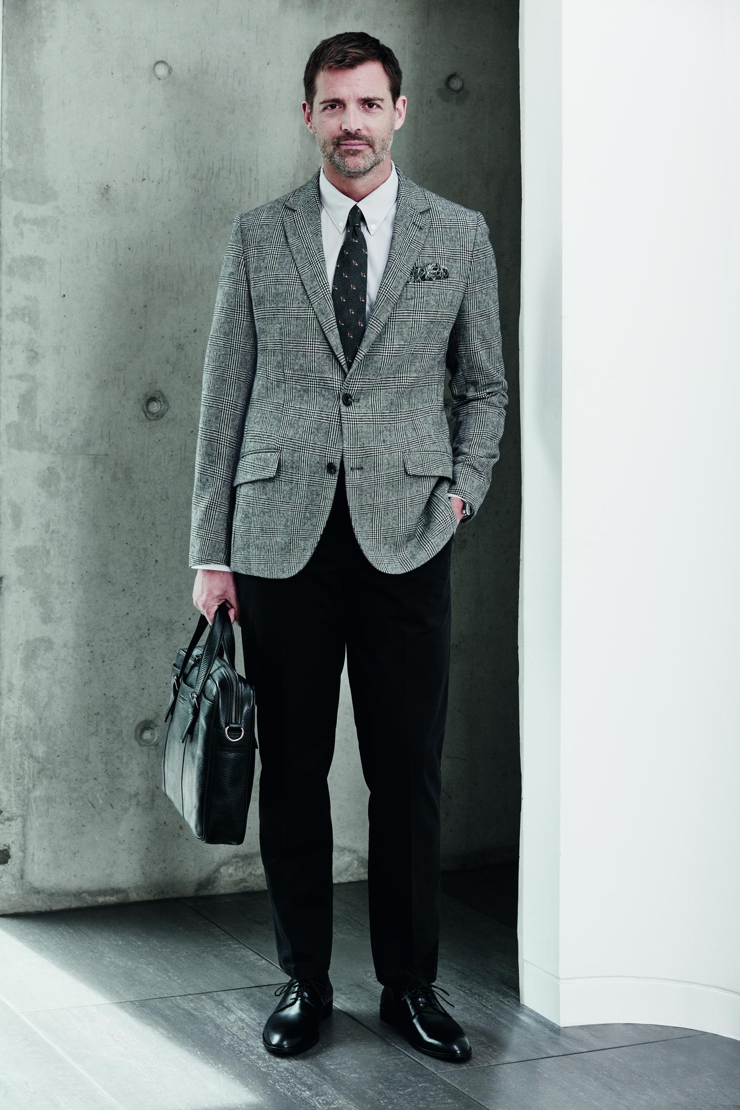 Debenhams Hammond & Co. Check blazer £140, Shirt £42, Fox print tie £20, Trousers £45.jpg