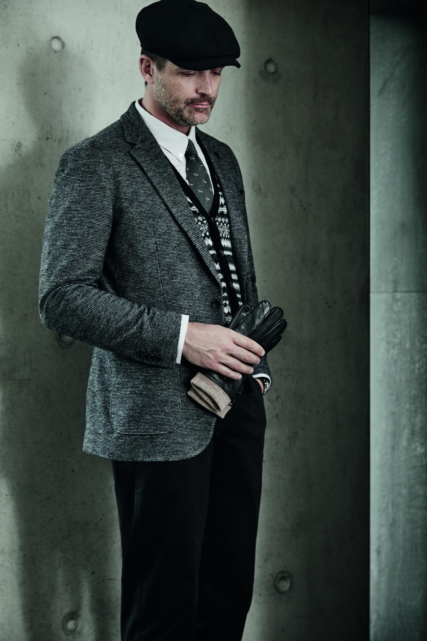 Debenhams Hammond & Co.Baker hat £30, Suit jacket £150,Shirt £42, Fox tie £20, Buttoned tank £45, Chinos £40, Gloves £40.jpg