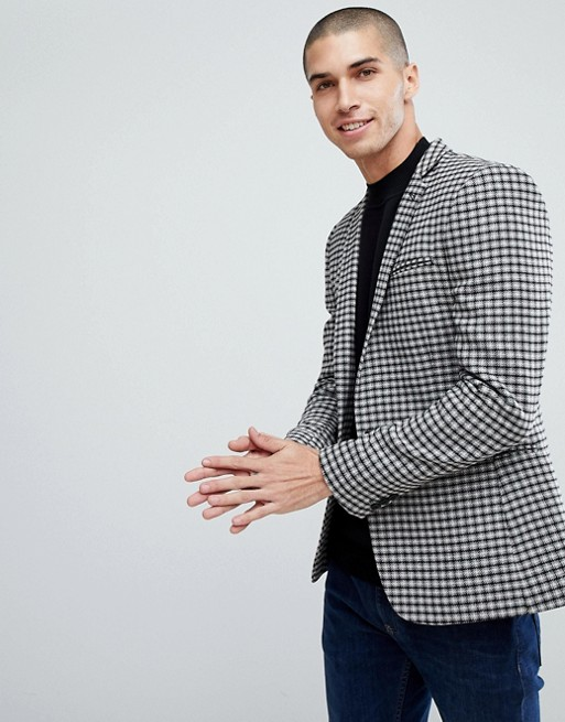 ASOS SUPER SKINNY BLAZER IN GREY WOOL MIX MINI CHECK