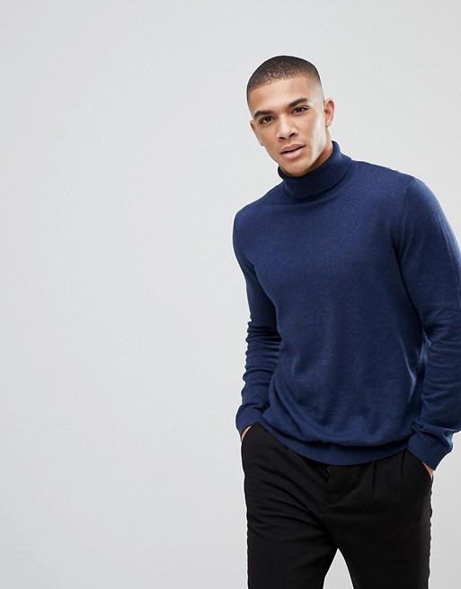 ASOS COTTON ROLL NECK JUMPER IN NAVY