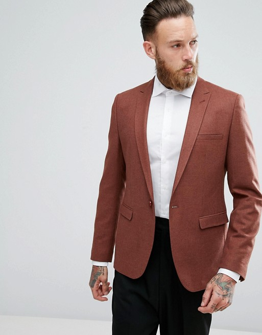 ASOS SKINNY BLAZER IN RUST WOOL MIX