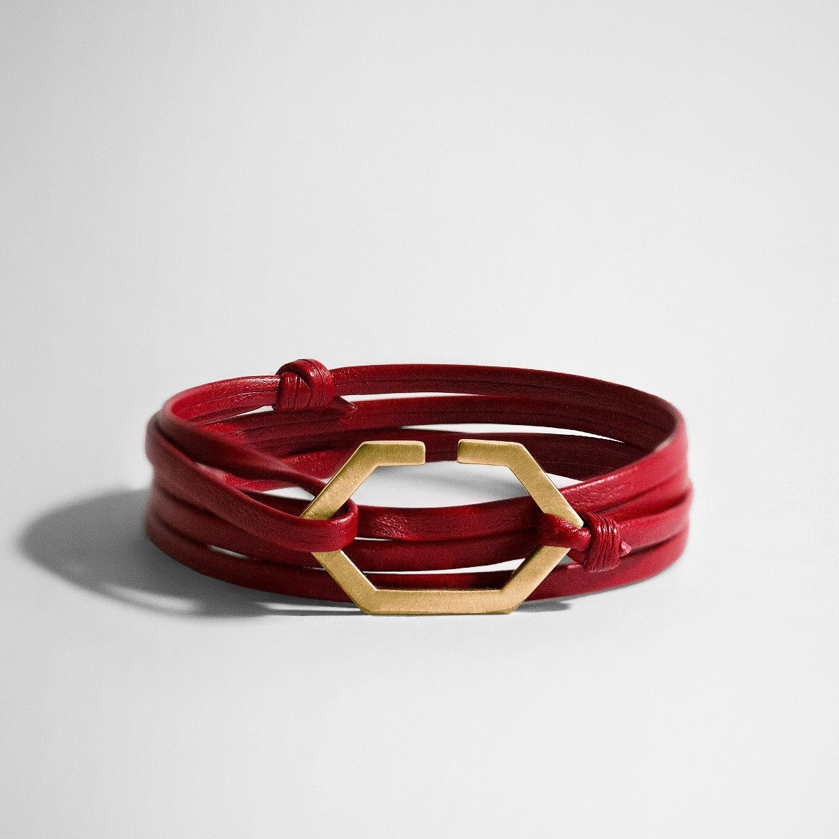 Hex Gold & Red Leather Bracelet