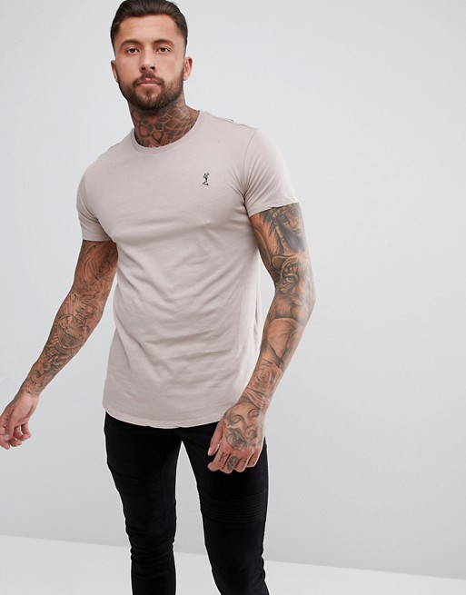 ASOS RELIGION LONGLINE T-SHIRT IN ASH PINK