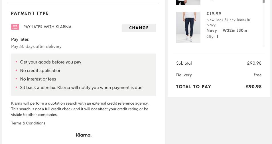 Payment Type: Klarna