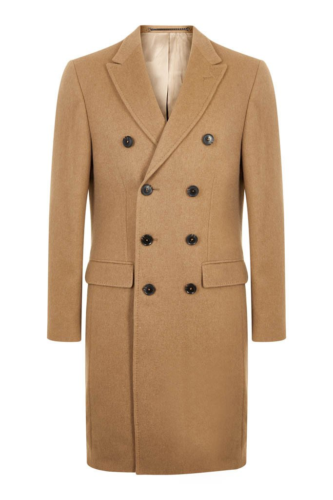 Double breasted men's camel coat