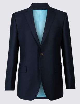 M&S NAVY TAILORED FIT WOOL JACKET