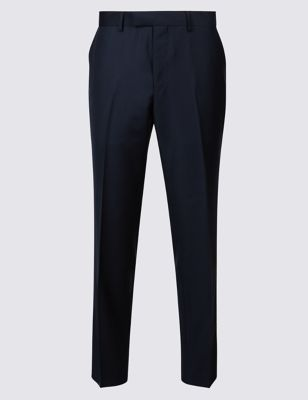 M&S NAVY TAILORED FIT WOOL TROUSERS