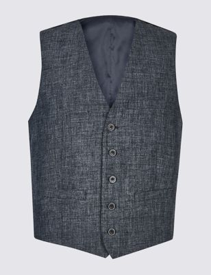M&S LINEN MIRACLE TAILORED FIT WAISTCOAT