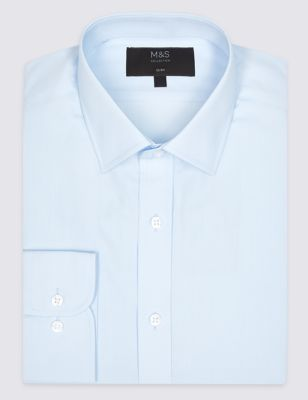 M&S COTTON BLEND SLIM FIT SHIRT