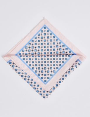 M&S PURE SILK GEOMETRIC PRINT POCKET SQUARE