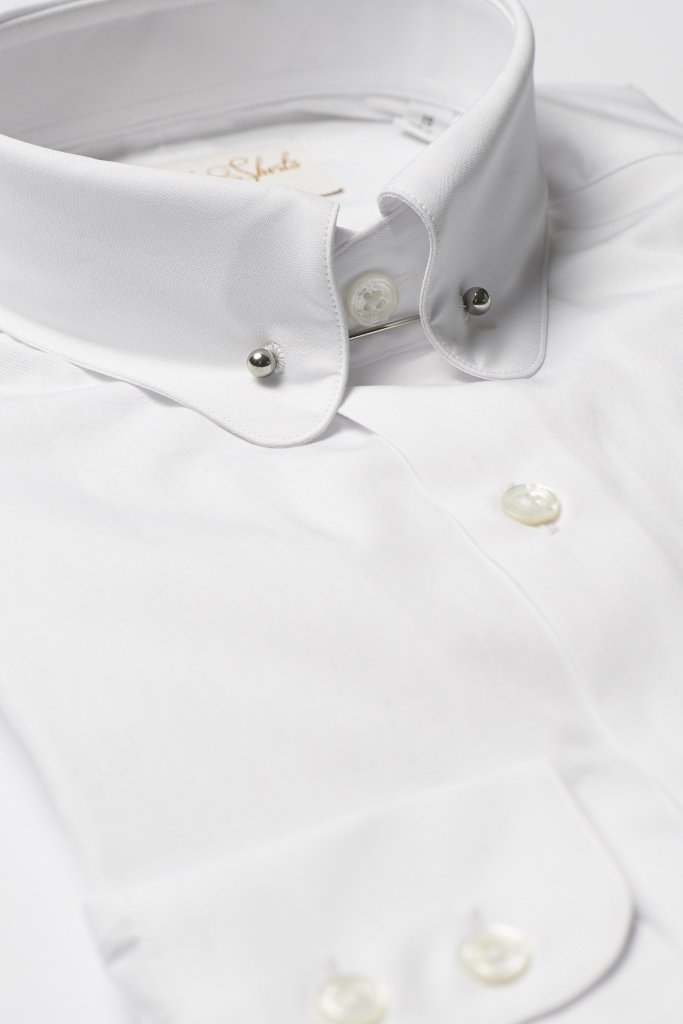 Hawkins & Shepherd White Pin Collar Shirt