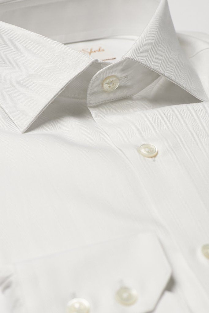 White Herringbone Cotton Shirt by Hawkins & Shepherd