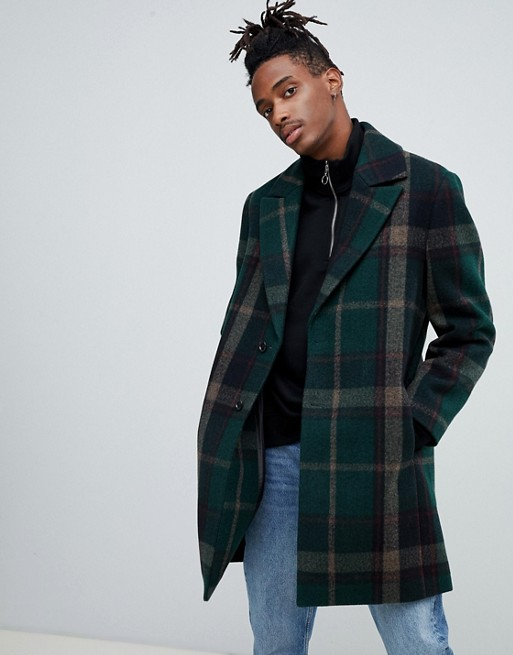 ASOS Green Check Overcoat