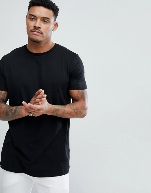 ASOS DESIGN LONGLINE T-SHIRT WITH CREW NECK IN BLACK