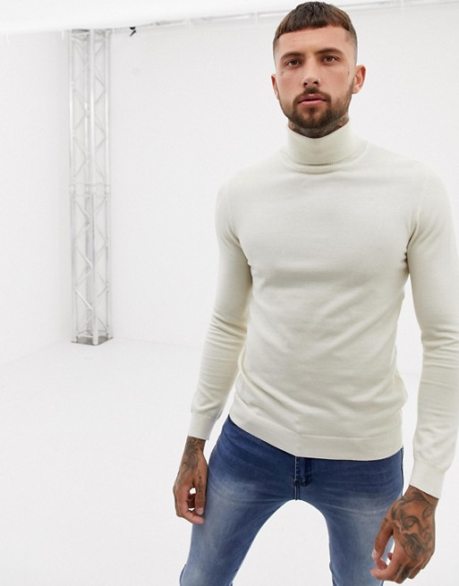Cream Rollneck Jumper - ASOS