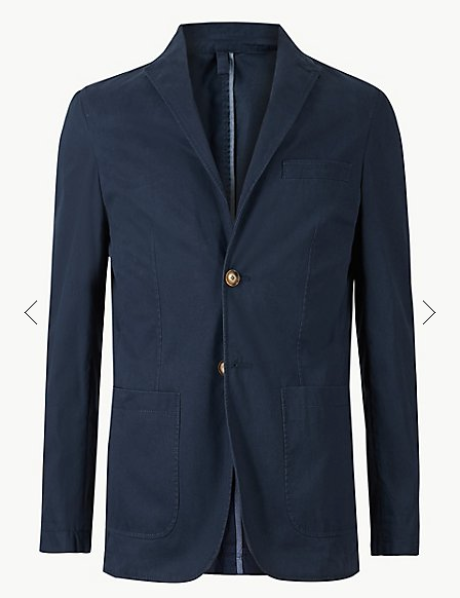 Navy Pure Cotton Tailored Fit Jacket