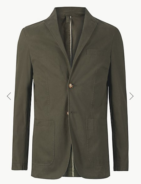 Khaki Pure Cotton Tailored Fit Jacket