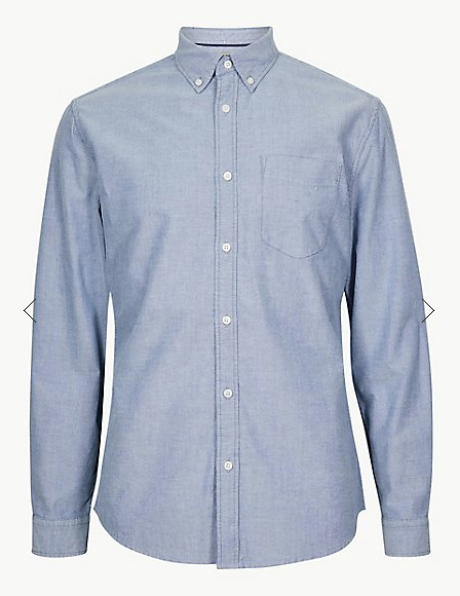 Blue Pure Cotton Oxford Shirt with Pocket